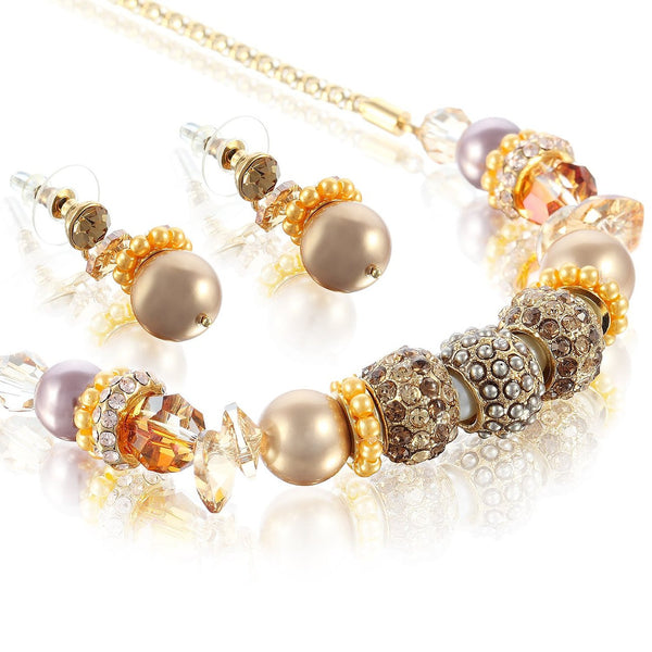 Garland Necklace & Earrings Set w/ Swarovski Crystal Elements Charms Beads & Pearls. Beautiful Tonal Mixture of Topaz & Mocha Hues on a 14k Gold Plated Chain. Perfect Neckline Necklace to be Worn Over a Scooped Dress for Best Exposure.
