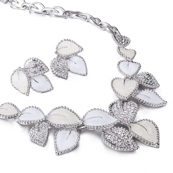 Beautiful Mother of Pearl & Swarovski Crystal Jewellery 3 Piece Set. Part of The Elizabeth Collection from Janeo. Delicate Leaves Inlaid with Crystals, Real Mother of Pearl Adorn a Chain Necklace