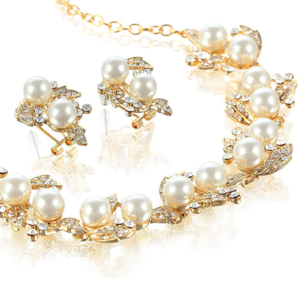 Bridal Wedding Pearls & Swarovski Elements Crystal Set with a Leaf and Vine Style Pattern. Gorgeous Rose Gold & 14k Gold Setting Options with Ivory Pearls. Great Price for Wedding Jewellery.