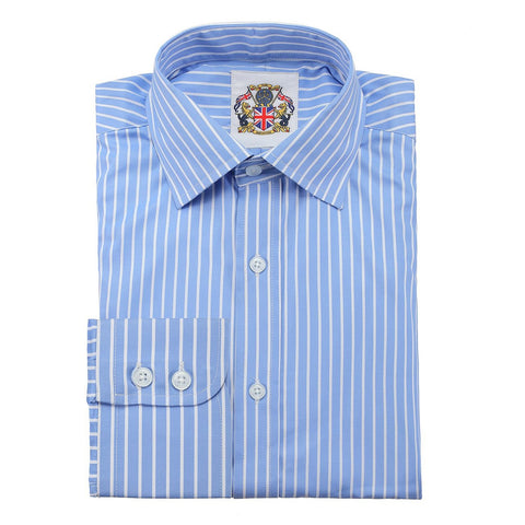 Janeo British Apparel Branded Long Sleeve Classic Fit Shirt. Bengal Stripe Sateen in Single & Double Cuff Options.Narrow or Wide Stripe Design Option. Easy Care, Great Price and Unique Eco Friendly Packaging, Beautiful Porcelain Blue & White