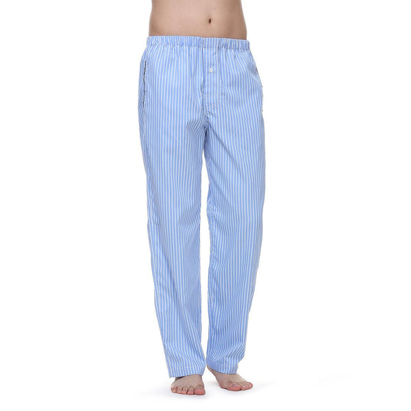 Janeo British Apparel Mens Bengal Stripe Sateen Lounge Night Wear Pyjama Trouser Bottoms Pants, with Side Pockets & Drawstring. Luxury Cotton Rich Mix Comfort Cosy Fabrics, Great Gift Idea, Supplied in Unique Matching Fabric Bag