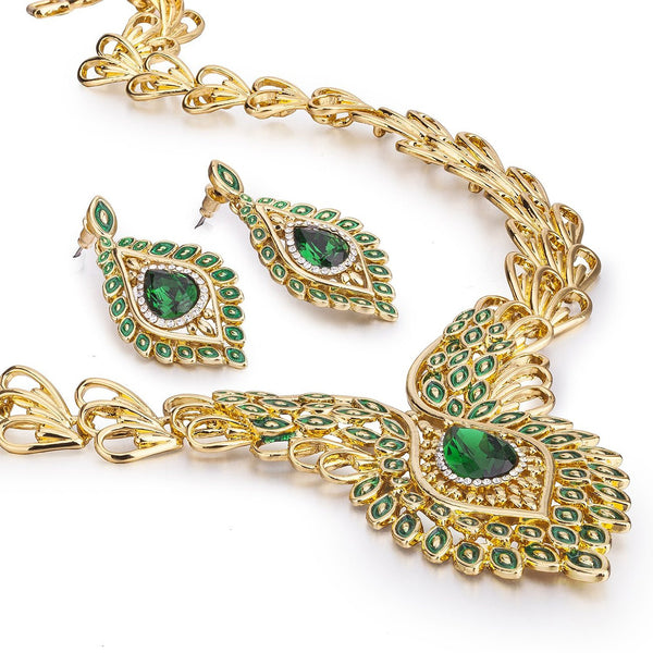 Saraswati, The Peacock Feather Necklace Set, Graceful Indian 14K Gold Plated, in Ruby Red or Emerald Green, with Matching Earrings Swarovski Clear Crystal Elements, Exquisite Czech Pear drop.