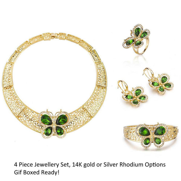 4 Pieces Butterfly Jewelry Set, Choker Style Filigree Ornate Design. Fine Costume Jewellery with Swarovski Crystals Elements, Stunning Necklace, Bracelet, Earrings and Ring Set.