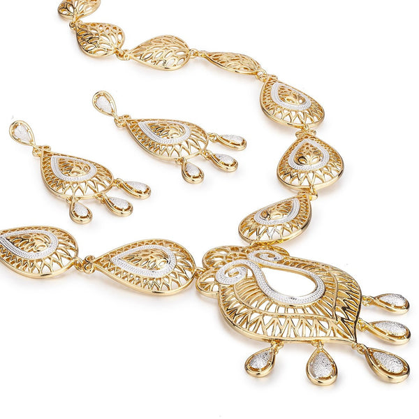 The Rossetti Chandelier Set, Filigree Pear drops in Gold with Silver Rhodium Highlights, Necklace & Drop Earrings Set. Reminiscent of the Arts and Crafts Movement Design. 14K Gold Plated.