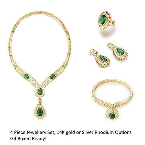 4 Pieces Pear Drops Jewelry Set, Pendant Necklace Filigree Design. Fine Costume Jewellery with Swarovski Crystals Elements, Hand Crafted. Named the 'Golden Emerald Indian Garland'