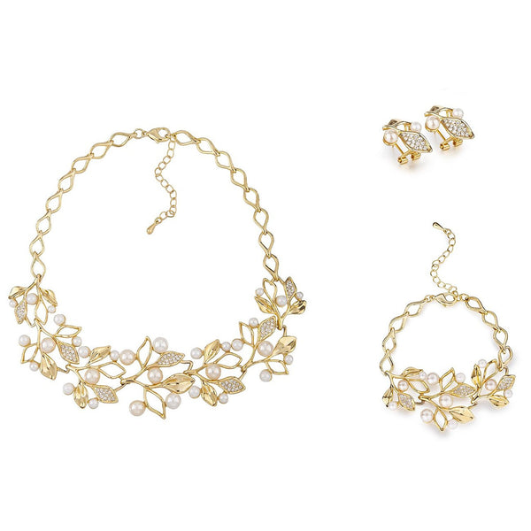 Polyhymnia, The Tiara Vine Necklace Set, Graceful Gold Leaves and Pearl Buds Contour Style with Matching Earrings & Bracelet, Swarovski Crystal Elements, Exquisite Luxury Haute Couture style Jewelry.