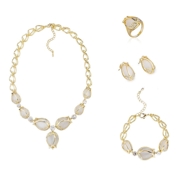 4 Pieces Stylish Luxury Jewellery Set, Bijou de Rosebud Jewelry Set, French Designer Cart*** Style. An all Gems Set, 14K Gold Setting with Swarovski Elements Crystals.