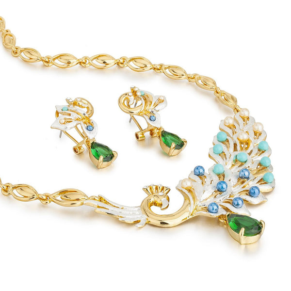 "Stylish Jewelry Set, ""The Ajmer"" Peacock Princess, Mogul Inspired 14K gold Setting with Solid Pear Drop Czech Crystals. Luxury Fashion Necklace & Earrings Set. Contemporary Modern Style."