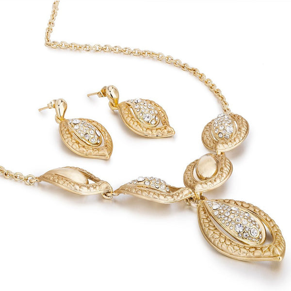 Stylish Jewelry Set, ' The Etoile ' Cart*** Designer Inspired with Swarovski Crystals Elements, Leaf Pattern Pendant Necklace and Earrings Set. Beautiful Indian Contemporary Style.