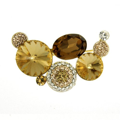 Contemporary & Vintage Brooch Pins at Bargain price; Swarovski and Czech Crystals Mix. Crystals Half Moon Brooch. Timeless Dress & Coat Jewellery, 3 Colours options. Bargain Sale, Limited Stocks