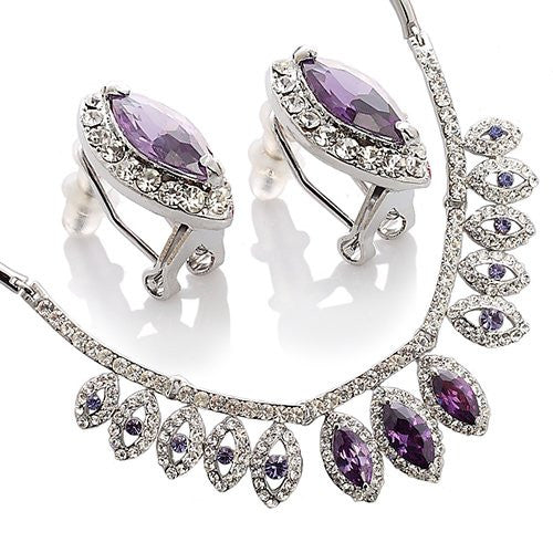 Amethyst or Siam Red Tiered Pear Drops Jewellery Set, Necklace & Matching Earrings.Beautiful Arrangement of Large Marquise Crystals Surrounded by Clear Diamond Swarovskis. Stunning