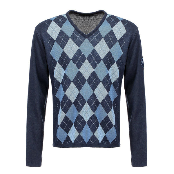 Long Sleeve Mens Argyle Pattern V Neck Top Sports Jumper, High Quality Combed Cotton Knitwear for Leisure and Sports. Specially designed forGolfwear, Cricket and Bowls Attire.