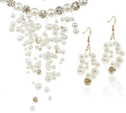 Stunning Designer Couture Jewellery Set, Unique Styling.Ivory Pearls& Swarovski Crystals Bead Balls Necklace & Earring Set. 14K Gold plated with Clear Crystals. Beautiful Fantasy Design.