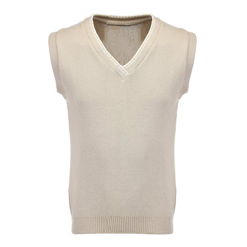 Sleeveless V Neck Top Sports Jumper, High Quality Combed Cotton Slipover. Specially designed Golf, Cricket and Bowls Attire. 3 colours Oatmeal Beige Cream, Dusky Royal Blue and Burgundy Maroon
