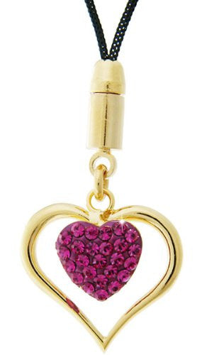 Swarovski Crystal Elements Hearts Love Mobile Phone Charm, Fuchsia Pink inlaid in a 14K Gold Plating Finish. Stunning, Great Christmas Gift Idea for Her. Prices Slashed in our Christmas Shop.