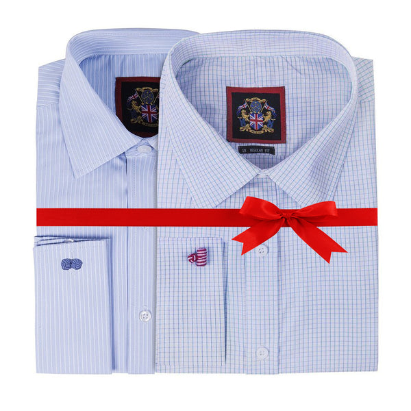 "'THE CLASSIC HAMPTON SHIRTS' 2 Styles Combo Pack Check & Striped Pattern, Janeo British Apparel Plain Long Sleeve Mens Shirts, The Hampton Check Regular Fit Shirt, Single & Double Cuff, Sizes 14½-22"". For Work, Office, Wedding."