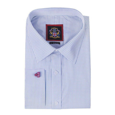 Janeo British Apparel Branded, The Classic HAMPTON Mens Checks Mens Shirt; Single & Double Cuff Sleeve. Budget Price, Traditional Tailor Quality Look, Easy Care Fabric, Office Wear & Special Occasion