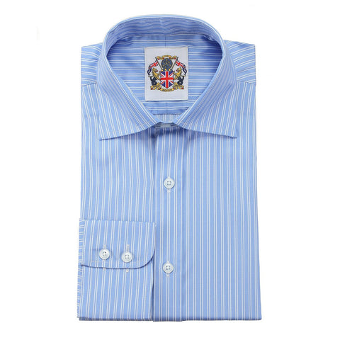 Janeo British Apparel Branded Long Sleeve Classic Fit Shirt in 4 Designs and Pastel Light colours for Office Wear. Double and Single Cuffs Options. Fine Gingham Checks, Stripes and Self Weaves.
