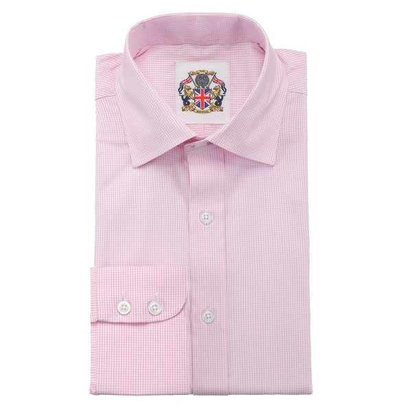 'FINE GINGHAM CHECK SHIRTS' Janeo British Apparel Branded Long Sleeve Classic Fit Shirt in 4 Designs and Pastel Light colours for Office Wear. Double and Single Cuffs Options. Fine Gingham Checks, Stripes and Self Weaves.