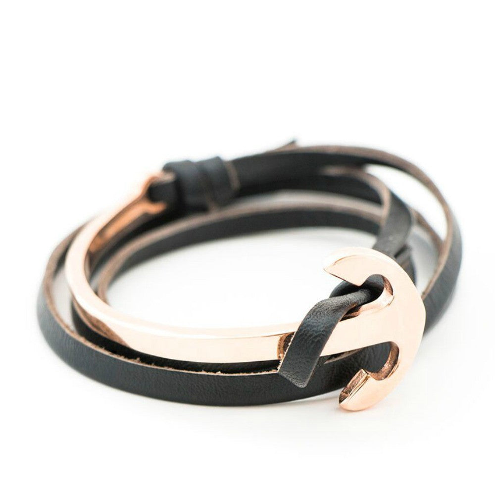 Black Leather Anchor Rose Gold