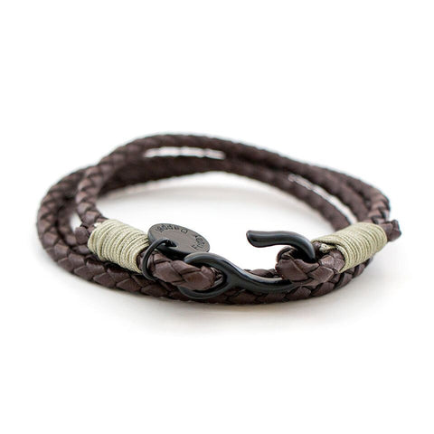 Brown Distressed Leather Wraparound Bracelet
