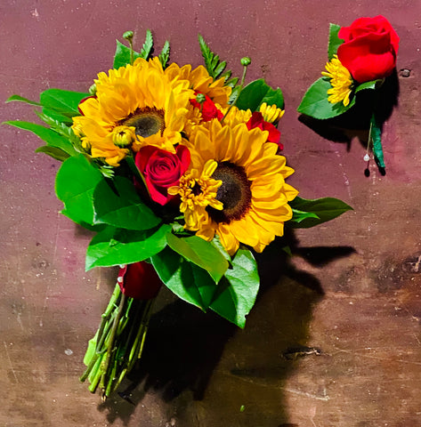 Sunflower and Red Rose Wedding Bouquet with Boutonnière