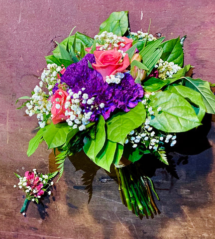 Pink, Purple, and White Bridal Bouquet With Boutonnière