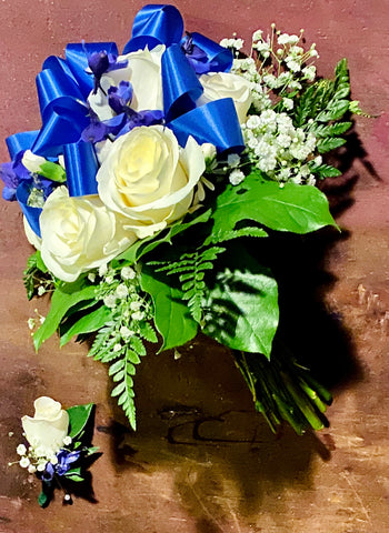 Blue and White Wedding Bouquet with Boutonnière