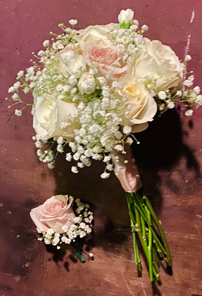 White and Taupe Wedding Bouquet with Boutonnière