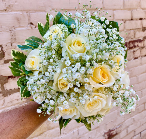 Timeless White Rose Wedding Bouquet
