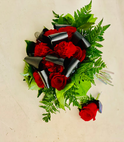 Black and Red Wedding Bouquet with Boutonnière