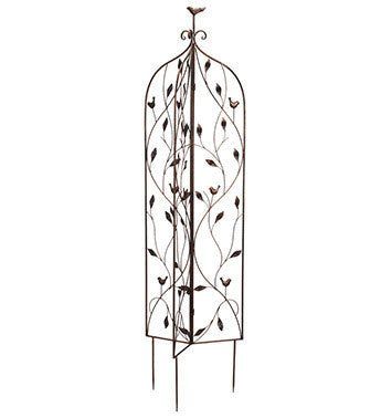 Antique Gold Bird Vine Trellis