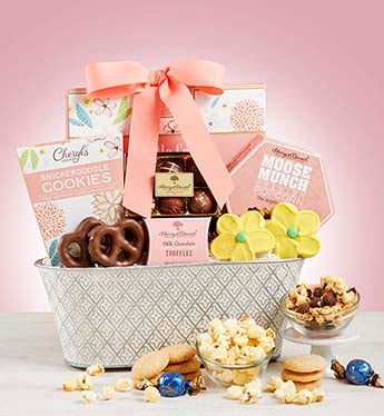 Full Bloom Sweet Treats Basket - Deluxe