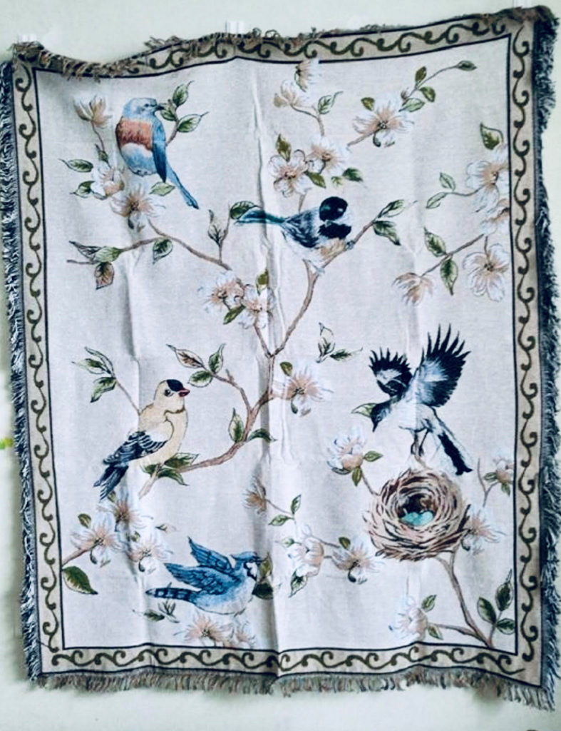 Birds, Peace, and Flowers Throw Blanket