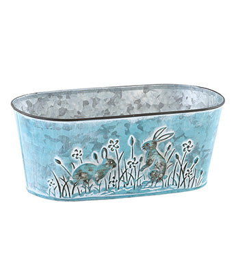 Bunny Double Bloomer Tin Planter