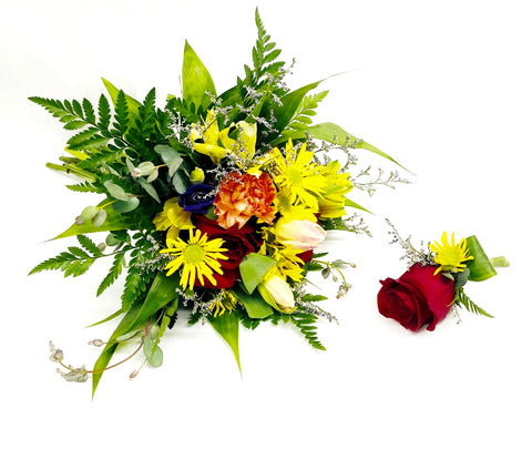 Seasonal Wedding Bouquet and Boutonniere