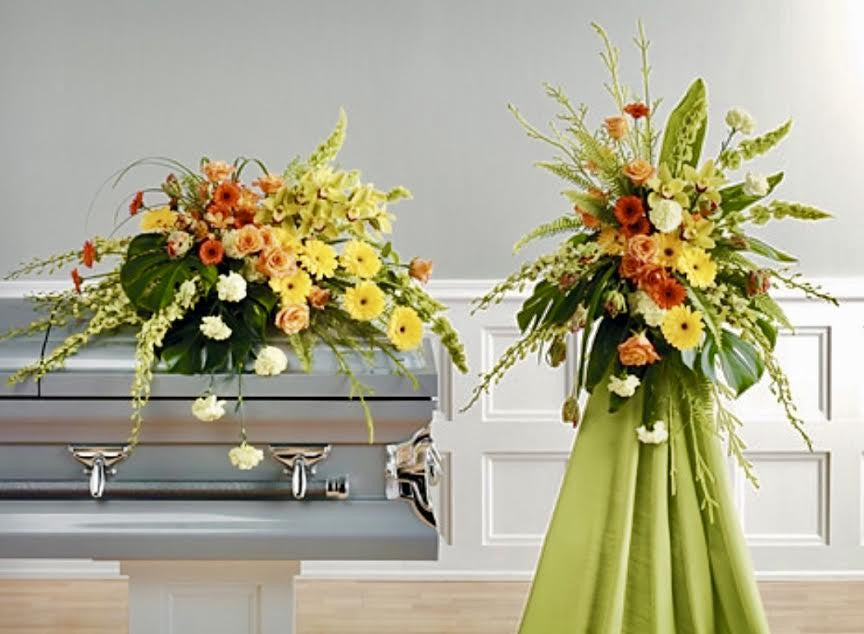 Modern remembrance Casket Spray and Standing Spray