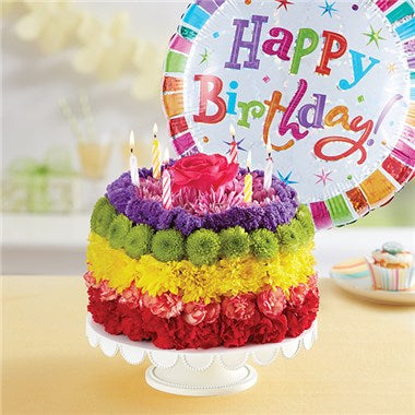 Somewhere Over The Rainbow Wishes Birthday Floral Cake With Balloon