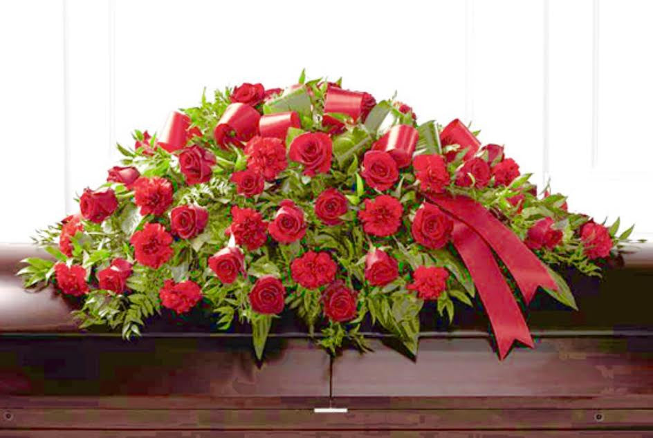 Red Remembrance Casket Spray