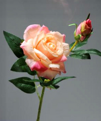Silk Rose With Bud