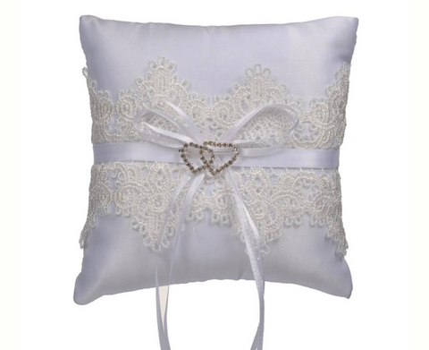 White Lace and Ribbon Ring Pillow