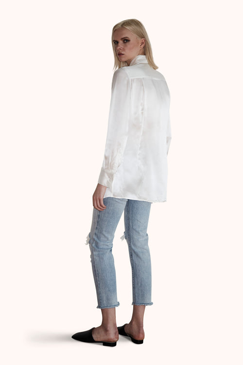 Tunic in Off-White Silk Satin