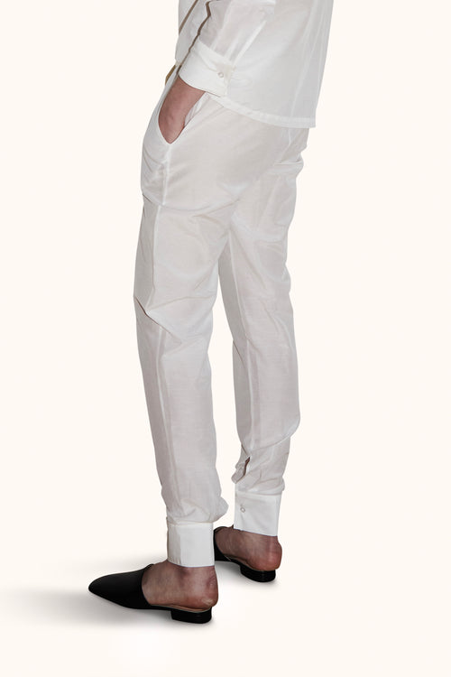 PJ Bottom White Cotton Voile