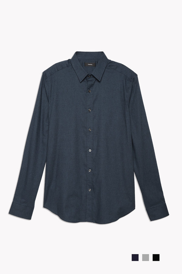 Unisex Zack Brushed Flannel Shirt in Navy