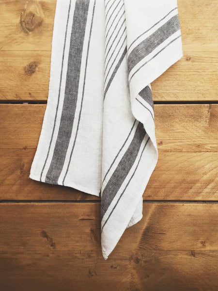 White and Grey Linen Tea Towel - Get The Look Interiors - 1