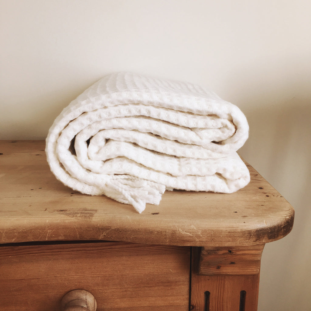 Luxury Cotton Waffle Throw in White - Get The Look Interiors - 1