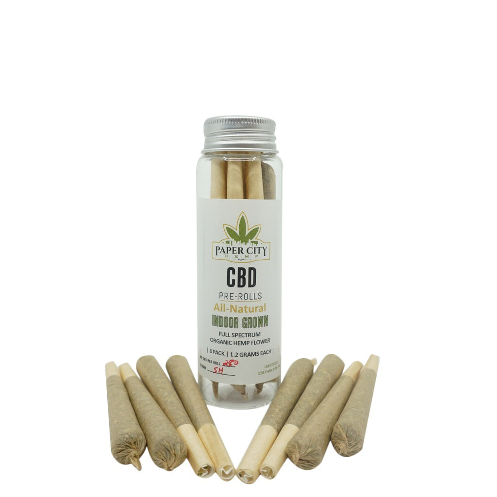 8 Pack Pre Roll 1.2 Grams CBD Hemp Flower - Indoor Grown - Paper City Hemp