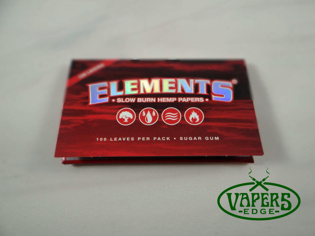 Elements Red Slow Burn Hemp Rolling Papers Single Wide Size 50 per