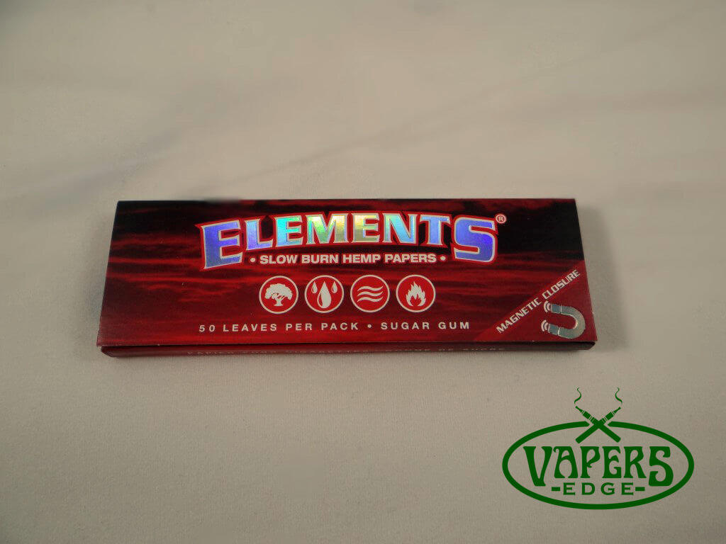 Elements Red Slow Burn Hemp Rolling Papers 1 1/4 Size 50 per