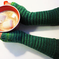Gradient Stripe Wristwarmers, by Jaala Spiro